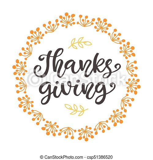 Thanks Giving. Thanksgiving Day lettering - csp51386520