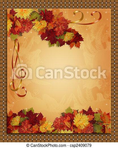 Thanksgiving Autumn Fall Border - csp2409079
