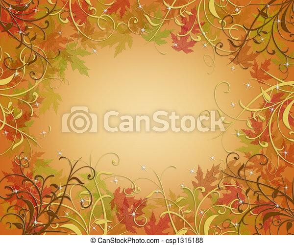 Thanksgiving Autumn Fall Border - csp1315188
