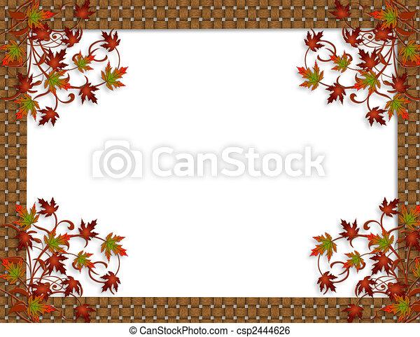 Thanksgiving Autumn Fall leaves Border - csp2444626