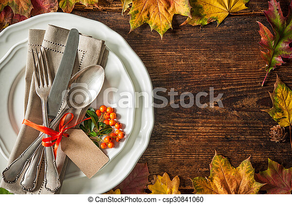 Thanksgiving autumn place setting - csp30841060