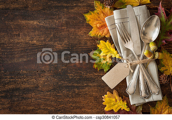 Thanksgiving autumn place setting - csp30841057