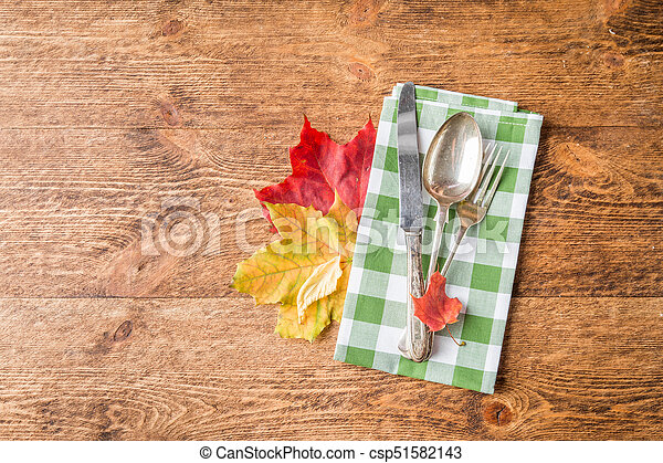 Thanksgiving autumn place setting - csp51582143