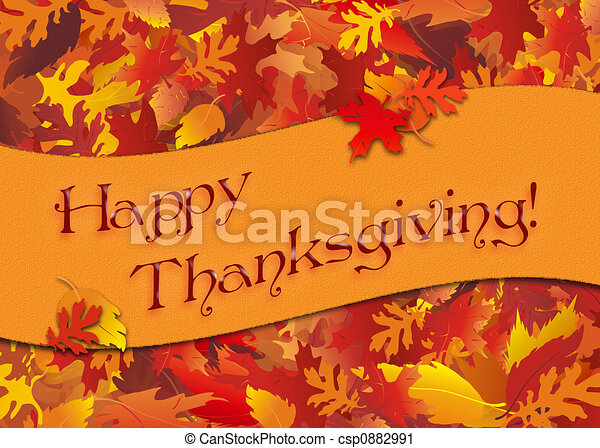 Thanksgiving Background Illustration Of Autumn Leaves With Happy Thanksgiving Banner