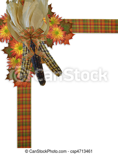 Thanksgiving border indian corn. Image and illustration... clipart ...