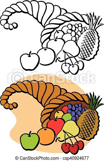 thanksgiving cornucopia a thanksgiving horn of plenty full rh canstockphoto com