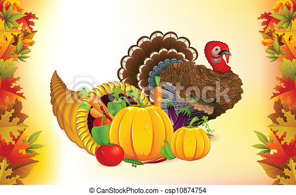 thanksgiving cornucopia with turkey illustration of fruits rh canstockphoto com thanksgiving cornucopia clipart thanksgiving cornucopia clipart