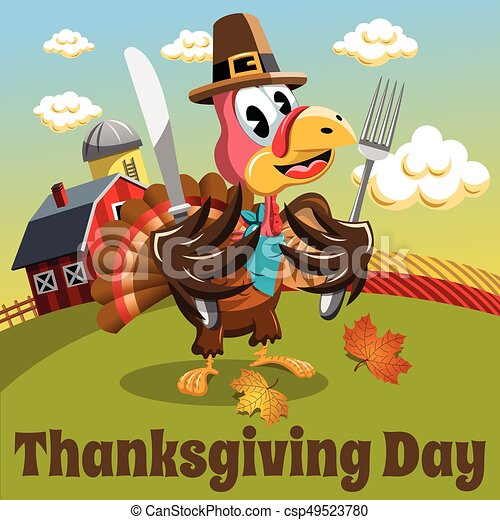 Thanksgiving day background square pilgrim turkey eat fork and knife in the countryside - csp49523780
