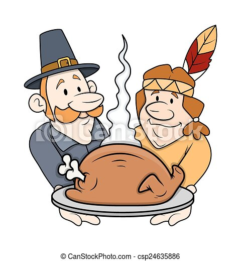 Thanksgiving Day Cartoon Characters Celebrating Party With Chicken