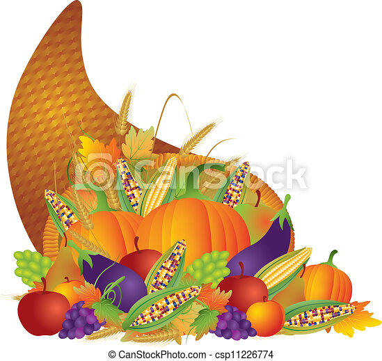 Thanksgiving Day Fall Harvest Cornucopia Illustration - csp11226774