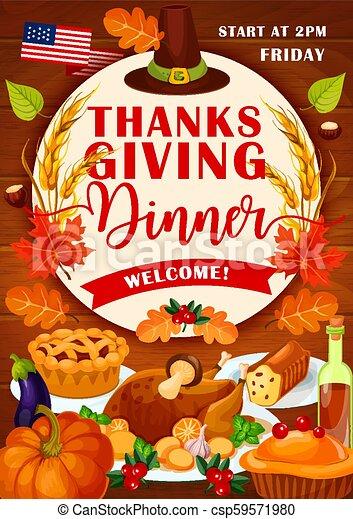 Thanksgiving Day Holiday Festive Dinner Invitation