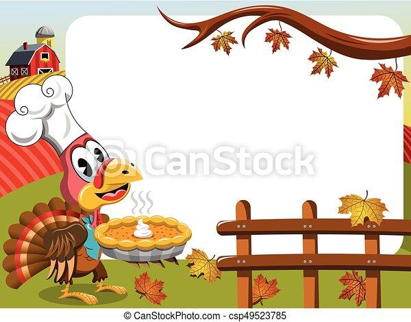 Thanksgiving day horizontal frame pilgrim turkey pumpkin pie ...