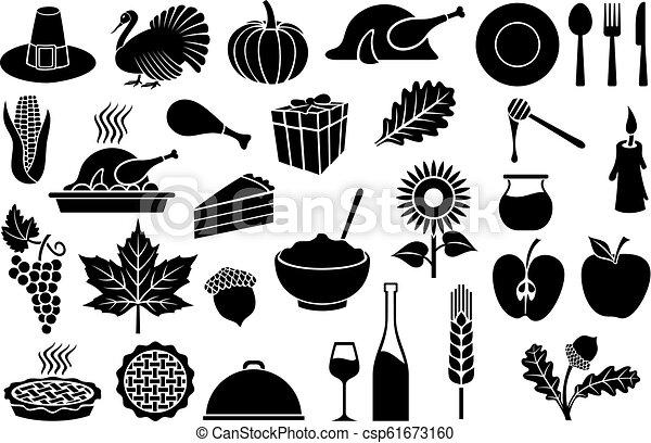 Thanksgiving Day icons set - csp61673160