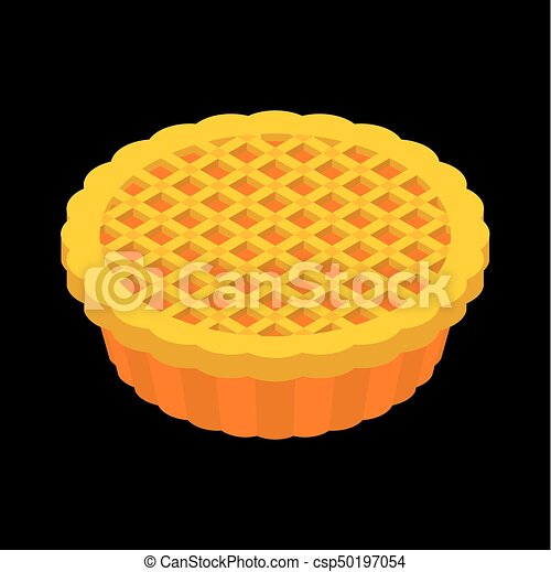 Thanksgiving Day Pumpkin Pie Isolated Vintage Cake Food For National Holiday