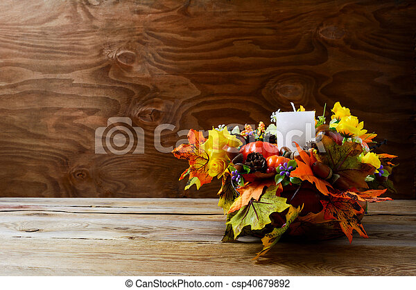 Thanksgiving Decoration With Silk Fall Leaves On Rustic Background Greeting Decor Centerpiece Copy
