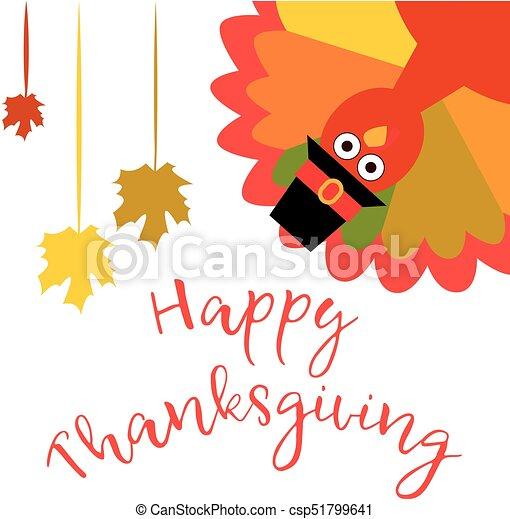 Thanksgiving Divertido Saludo Ilustración Pavo Vector