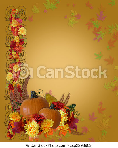 Thanksgiving Fall Autumn Border - csp2293903