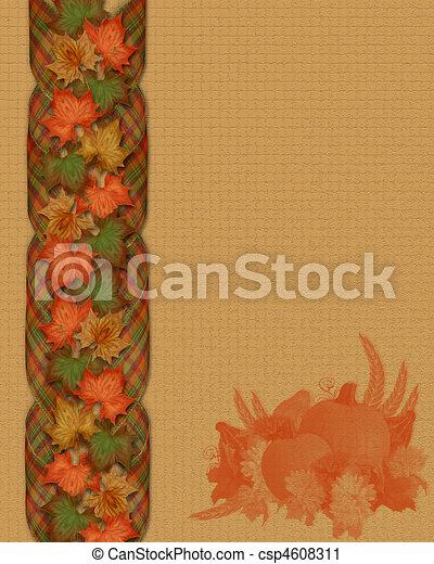 Thanksgiving fall leaves border - csp4608311