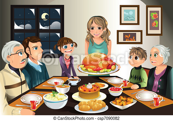 Thanksgiving family dinner - csp7090082