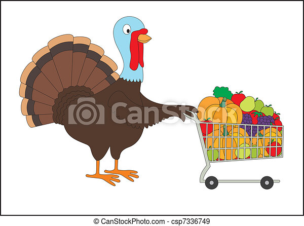Thanksgiving fat turkey with shopping cart full of groceries. Isolated on white background. - csp7336749