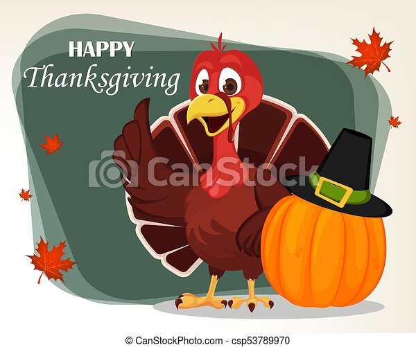 Thanksgiving greeting card with a turkey bird standing near pumpkin thanksgiving greeting card with a turkey bird standing near pumpkin in a pilgrim hat funny cartoon character for holiday vector illustration with maple m4hsunfo