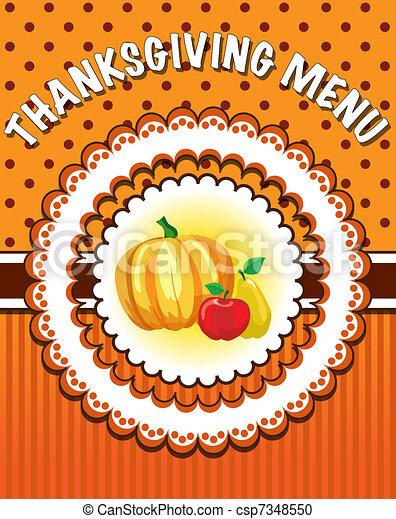 Retro style thanksgiving menu template with pumpkin and fruit eps10 thanksgiving menu template csp7348550 maxwellsz