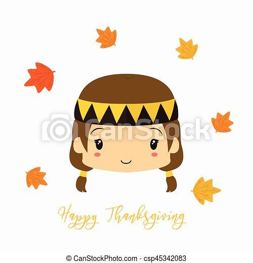 Thanksgiving Native American Girl Character