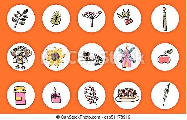 Thanksgiving objects and characters doodle icon stickers print out vector illustration