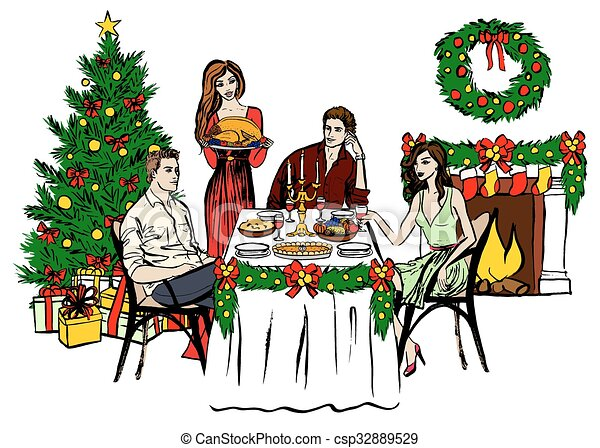 Christmas Day Drawing Images.Thanksgiving Or Christmas Dinner