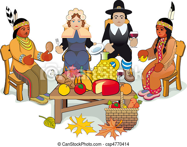 thanksgiving pilgrims and indian couple illustration eps rh canstockphoto com Feast Clip Art Thanksgiving Clip Art