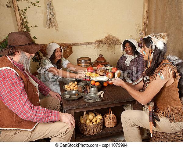 Thanksgiving Pilgrims Eating Reenactment Scene Of The First