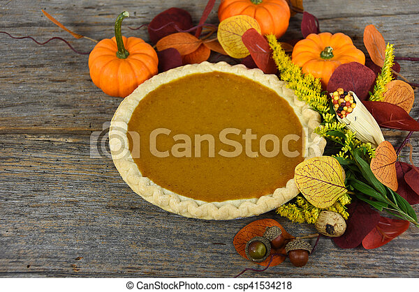 Thanksgiving pumpkin pie - csp41534218