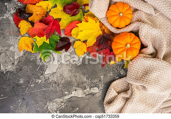 Thanksgiving pumpkins with fall leaves - csp51733359