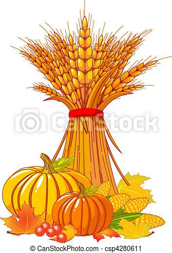 thanksgiving, récolte, fond, / - csp4280611