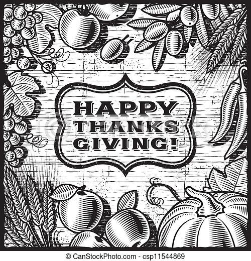 Thanksgiving Retro Card Black
