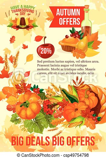 Thanksgiving Sale Banner Of Autumn Discount Offer Thanksgiving Day Sale Banner With Autumn Season Discount Offer Fall Leaf