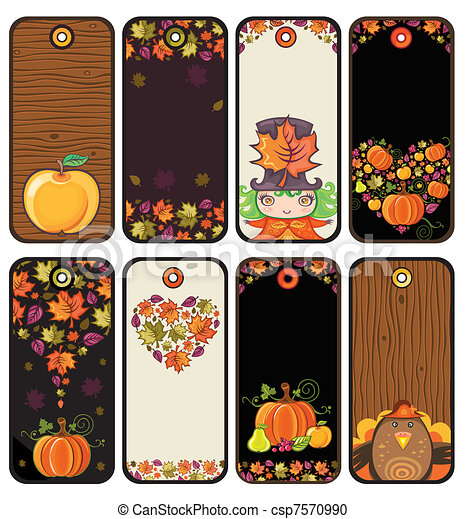 Thanksgiving set of tags 1 - csp7570990