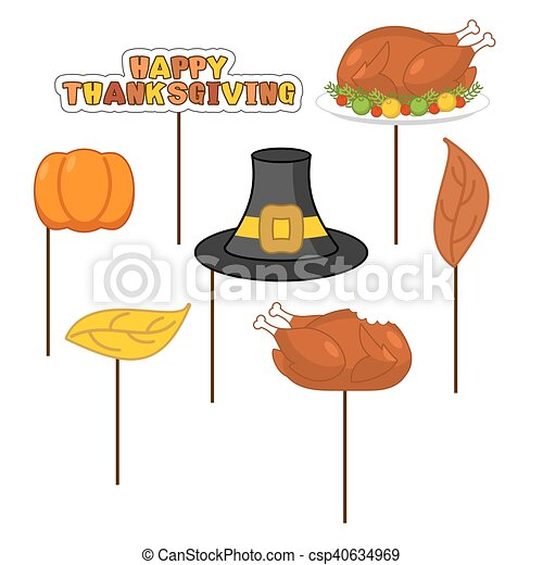 Thanksgiving Set photo props for photo shoot. Elements for photographing. Roasted turkey and fresh pumpkin. Pilgrim hat and autumn leaves. Traditional festive sign. Symbol Historic national holiday - csp40634969
