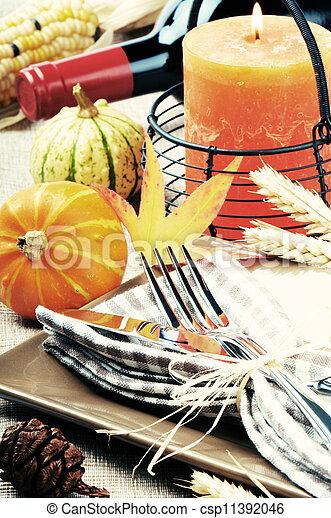 Thanksgiving table setting - csp11392046