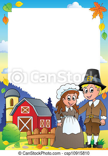 Thanksgiving theme frame 1 - csp10915810