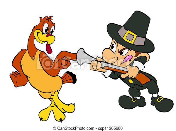 thanksgiving turkey and pilgrim hand drawn cartoon of a stock rh canstockphoto com pilgrim hat clipart free pilgrim clipart black and white free
