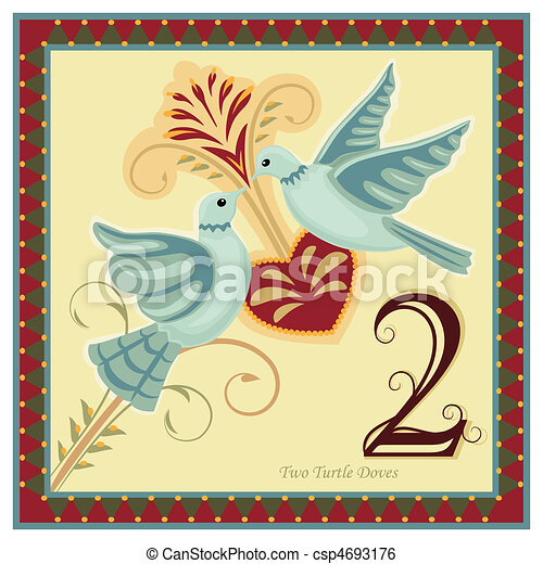 the 12 days of christmas 2 nd day two turtle doves clip art rh canstockphoto com 12 days of christmas clip art free printables 12 days of christmas clipart free
