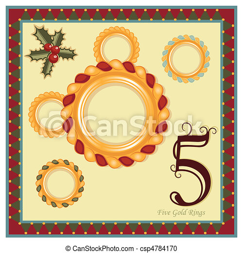 the 12 days of christmas 5th day five gold rings vector rh canstockphoto com 12 days until christmas clipart 12 days of christmas clipart lyrics