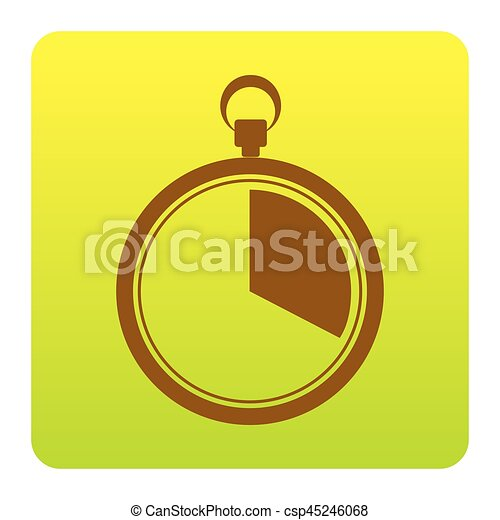 The 20 seconds, minutes stopwatch sign. Vector. Brown icon at green-yellow gradient square with rounded corners on white background. Isolated. - csp45246068