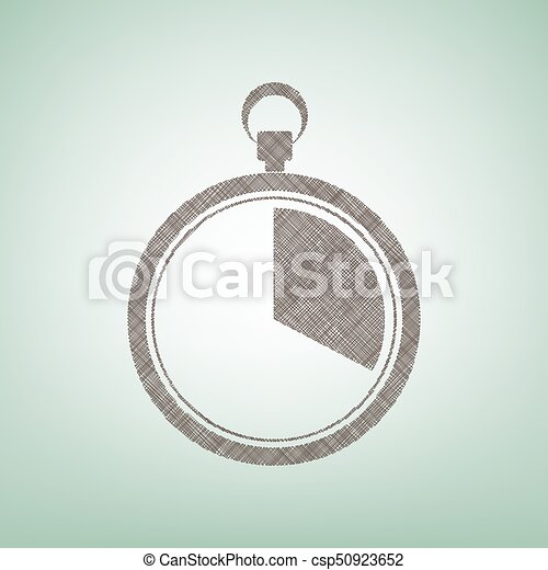 The 20 seconds, minutes stopwatch sign. Vector. Brown flax icon on green background with light spot at the center. - csp50923652