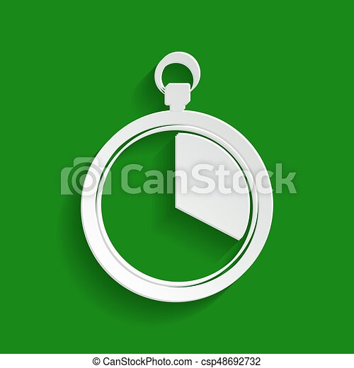 The 20 seconds, minutes stopwatch sign. Vector. Paper whitish icon with soft shadow on green background. - csp48692732