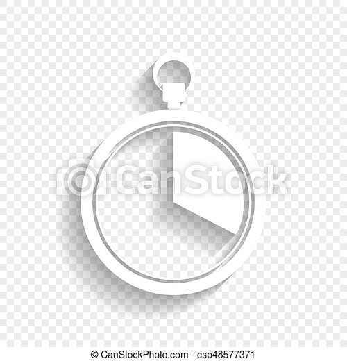 The 20 seconds, minutes stopwatch sign  Vector  White icon with soft shadow  on transparent background