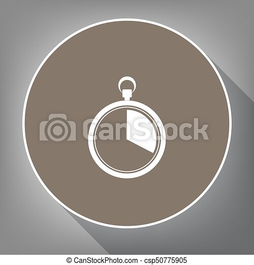 The 20 seconds, minutes stopwatch sign. Vector. White icon on brown circle with white contour and long shadow at gray background. Like top view on postament. - csp50775905