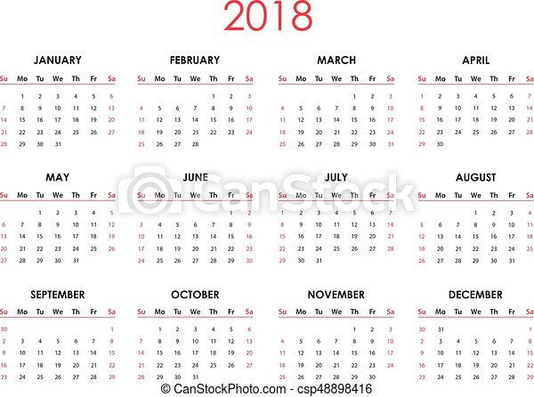 2018 calendar editable