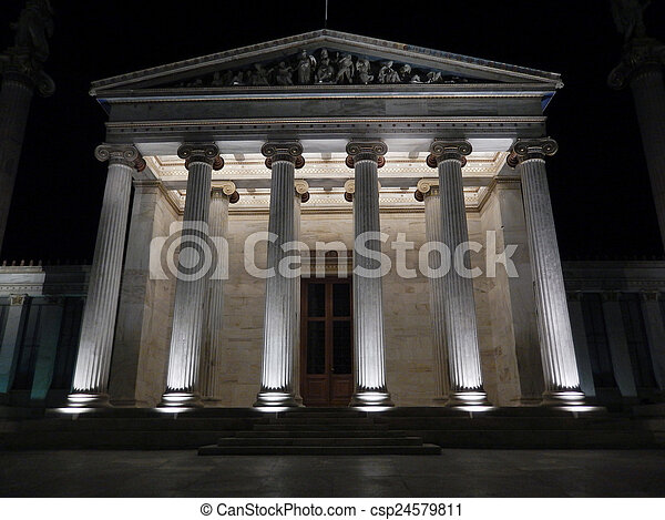 The Academy of Athens at night - csp24579811